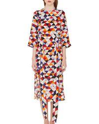 Akris - Diamond Print Silk Crepe Dress - Lyst