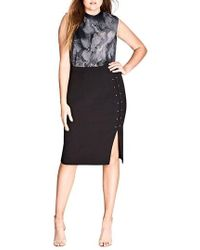 City Chic - Sharp Stud Skirt - Lyst