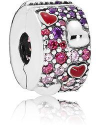 PANDORA - Asymmetrical Hearts Of Love Clip Charm - Lyst