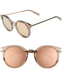 Le Specs - Last Dance 51mm Mirrored Round Sunglasses - Mocha - Lyst