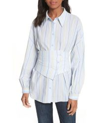Tibi - Removable Corset Stripe Shirt - Lyst
