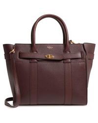 Mulberry - Small Bayswater Leather Satchel - Burgundy - Lyst