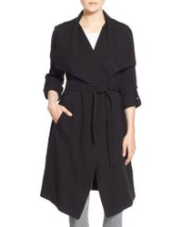 SOIA & KYO - Roll Sleeve Drape Front Long Trench Coat - Lyst