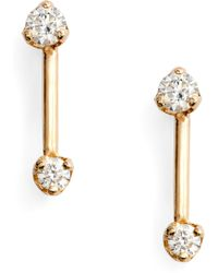 Zoe Chicco Barbell Diamond Stud Earrings