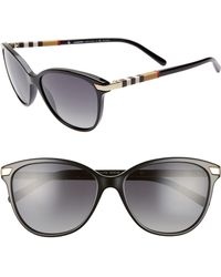 Burberry - Check 57mm Polarized Gradient Cat Eye Sunglasses - - Lyst