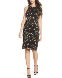 Adrianna Papell | Diana Embroidered Sheath Dress | Lyst