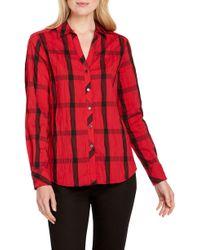 c94f8e9b Foxcroft - Mary In Crinkle Windowpane Shirt - Lyst