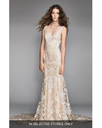 WILLOWBY Corella Embroidered Lace & Charmeuse Mermaid Gown - Natural