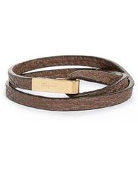 Ferragamo - Pelle Shark Leather Wrap Bracelet - Lyst