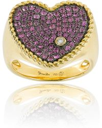Yvonne Léon - Yvonne Leon Diamond & Pink Sapphire Heart Ring - Lyst