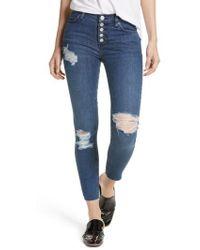 Free People - Reagan Destroyed Crop Skinny Jeans - Lyst