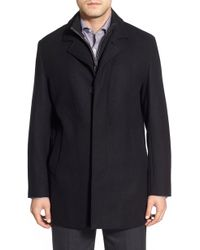 Cole Haan - Wool Blend Topcoat With Inset Knit Bib - Lyst
