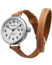 Shinola - 'the Birdy' Double Wrap Leather Strap Watch - Lyst