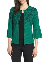 Ming Wang - Embroidered Bell Sleeve Sweater Jacket - Lyst