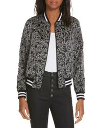 Alice + Olivia - X Keith Haring Lonnie Reversible Bomber Jacket - Lyst