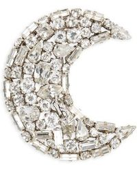 Saint Laurent - Crystal Crescent Moon Brooch - Lyst