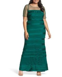 Adrianna Papell - Illusion Neck Shutter Pleat Gown - Lyst