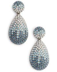 Nina - Large Pave Teardrop Drop Earrings - Lyst