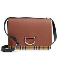 91ec02bdfdb9 Lyst - Burberry Harcourt Medium Canvas Check   Leather Satchel in Brown