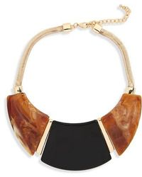 Cara - Wood Effect Acrylic Necklace - Lyst