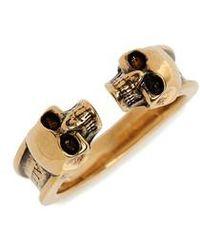 Alexander McQueen - Twin Skull Brass Ring - Lyst