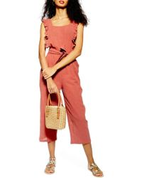 6ae9d1763ff Lyst - TOPSHOP Shirred Striped Jumpsuit in Red