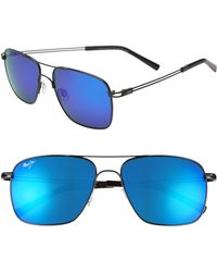 Maui Jim - Haleiwa 56mm Mirrored Polarized Navigator Sunglasses - Gunmetal Black/ Blue Hawaii - Lyst