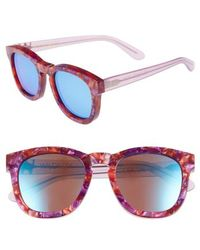 Wildfox - Classic Fox - Deluxe 59mm Sunglasses - Wildflower/blue Mirror - Lyst