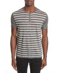 John Varvatos - Stripe Linen Henley T-shirt - Lyst