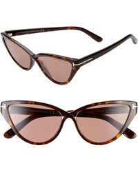 Tom Ford Charlie 55mm Cat Eye Sunglasses - Dark Havana/ Brown