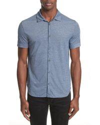 John Varvatos - John Varvatos Cotton Blend Short Sleeve Woven Shirt - Lyst