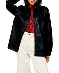 TOPSHOP Faux Leather Pu Oversized Shirt - Black