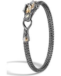 John Hardy - 18k Yellow Gold & Sterling Silver Legends Naga With Black Rhodium & Blue Sapphire Eyes Slim Bracelet - Lyst