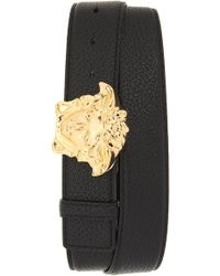 Versace - Medusa Buckle Leather Belt - Lyst