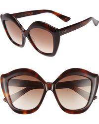 644453a6a2a Gucci - 53mm Cat Eye Sunglasses - Havana  Brown - Lyst