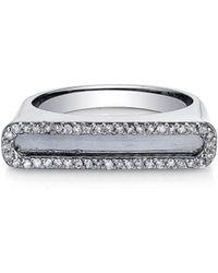 Sheryl Lowe - Pave Diamond Frame Bar Ring - Lyst