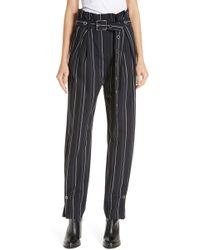 HUGO - Relaxed-fit Paper-bag Trousers With Vertical Stripes - Lyst