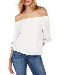 4fdf9aafe2d15 Lyst - T-bags Ruffle Off The Shoulder Top in Red
