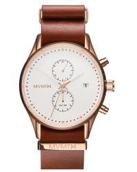 MVMT - Voyager Chronograph Leather Strap Watch - Lyst