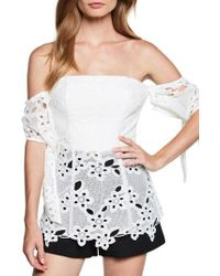 Bardot - Essy Off The Shoulder Lace Bustier Top - Lyst