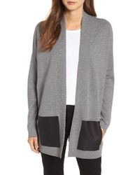 Eileen Fisher - Cashmere & Wool Cardigan With Leather Pockets - Lyst