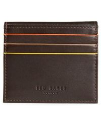 Ted Baker - Foxes Stripe Leather Foldover Card Case - Lyst