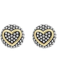 Lagos - 'caviar' Heart Stud Earrings - Lyst