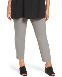 Eileen Fisher | Slim Washable Stretch Crepe Ankle Pants | Lyst