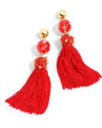 J.Crew - Crystal-studded Bead And Tassel Earrings - Lyst