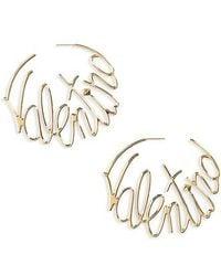 Valentino - Logo Script Hoop Earrings - Lyst