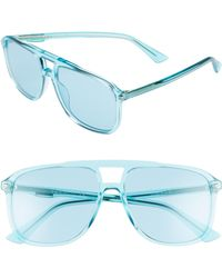 c0e97e16510 Gucci -  80s Monocolor 58mm Aviator Sunglasses - Azure - Lyst