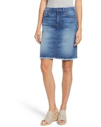 Jen7 - Raw Hem Denim Pencil Skirt - Lyst