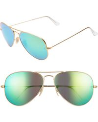 cd02273a3b8 Lyst - Ray-Ban 61mm Mirrored Lens Aviator Sunglasses in Pink