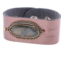 Nakamol - Oval Stone Leather Cuff Bracelet - Lyst